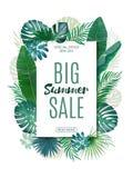 Sale banner, poster with exotic leaves, jungle leaf. Vector floral tropical summer background. Vertical format. royalty free illustration