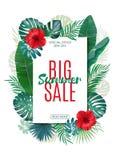 Sale banner, poster with exotic leaves, jungle leaf. Vector floral tropical summer background. Vertical format. stock illustration