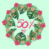 Sale banner, poster with palm leaves stock illustration
