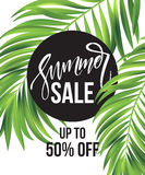 Sale banner, poster with palm leaves, jungle leaf and handwriting lettering. Floral tropical summer background. Vector. Illustration EPS10 Royalty Free Stock Image