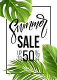 Sale banner, poster with palm leaves, jungle leaf and handwriting lettering. Floral tropical summer background. Vector. Illustration EPS10 Royalty Free Stock Photography