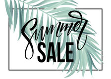 Free Sale Banner, Poster With Palm Leaves, Jungle Leaf And Handwriting Lettering. Floral Tropical Summer Background. Vector Royalty Free Stock Image - 91684346