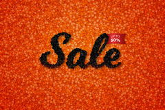 Sale Banner With Realistic Black Caviar Over Red. Vector Text Design Template For Adertising Products. Promotional Royalty Free Stock Photography