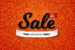 Sale Banner With Realistic Black Caviar Over Red. Vector Text Design Template For Advertising Products. Promotional Royalty Free Stock Image
