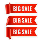Sale banner. Realistic Red Glossy paper ribbon Royalty Free Stock Photos