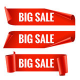 Sale banner. Realistic Red Glossy paper ribbon Royalty Free Stock Image