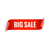 Sale banner. Realistic Red Glossy paper ribbon Stock Images