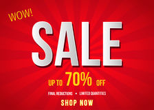 Sale  banner on red background. Royalty Free Stock Images