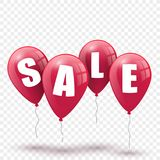 Sale banner from red balloons. Vector illustration royalty free illustration