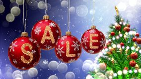 Sale banner on red Christmas balls with round snow flake on bokeh background. 3d rendering Stock Photos