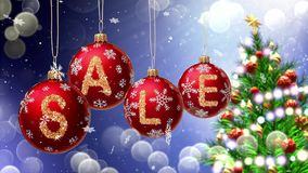 Sale banner on red Christmas balls with round snow flake on bokeh background. 3d rendering Stock Photography