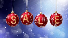 Sale banner on red Christmas balls with round snow flake on bokeh background. Stock Photo