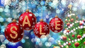 Sale banner on red Christmas balls with round snow flake on bokeh background. 4K stock footage