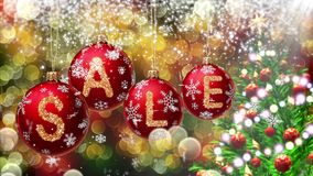 Sale banner on red Christmas balls with round snow flake on bokeh background. 4K stock video