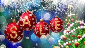 Sale banner on red Christmas balls with round snow flake on bokeh background. 4K stock video footage