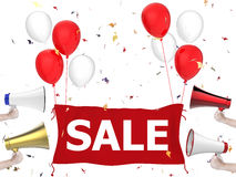 Sale banner with red cloth and balloons Stock Photo