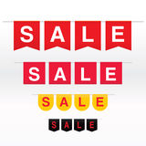 Sale banner with red flags Royalty Free Stock Images