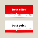 Sale banner with red torn paper texture Royalty Free Stock Photography