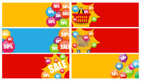 Sale Banner Set with Place for Your Text. Vector Stock Photo