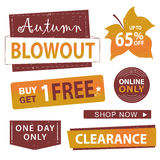 Sale banner set. Shop now, buy one get one free, . Autumn sale banner set. Shop now, buy one get one free,  illustration Stock Photo