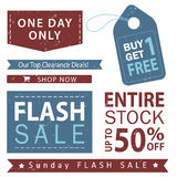 Sale banner set. Shop now, buy one get one free, vector. Flash sale banner set. Shop now, buy one get one free, vector Stock Photos
