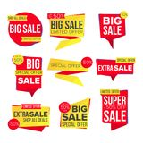 Sale Banner Set Vector. Website Stickers, Color Web Page Design. Up To 50 Percent Off Badges. Isolated Illustration. Sale Banner Set Vector. Discount Tag Royalty Free Stock Photo