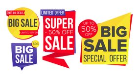 Sale Banner Set Vector. Discount Tag, Special Offer Banner. Discount And Promotion. Half Price Colorful Stickers. Sale Banner Set Vector. Website Stickers, Color Royalty Free Stock Photos
