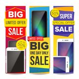 Sale Banner Set Vector. Discount Special Offer Banners Templates. Modern Smart Phones. Best Offer Advertising. Isolated. Sale Banner Set Vector. Place For Your Royalty Free Stock Image