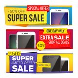 Sale Banner Set Vector. Up To 50 Percent Off. Smart Phone. Discount, Special Offer Banner. Advertising And Promotion. Sale Banner Set Vector. Discount Special Stock Images