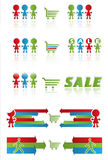 Sale banner with shopping cart and funny peoples. Sales sign for business offer in shop Royalty Free Stock Photo