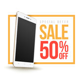Sale banner with Smartphone discount fifty percent. Royalty Free Stock Photo