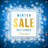 Sale banner with snowflakes Stock Image