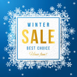 Sale banner with snowflakes Royalty Free Stock Images