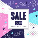 Sale banner, special offer 50 percent off, seasonal discount, advertising element vector Illustration. Web design Royalty Free Stock Image