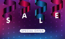 Sale banner with special offer text on white oval and ribbons on colorful background with stars. Vector. Royalty Free Stock Photos