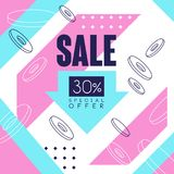 Sale banner, special offer up to 30 percent off, seasonal discount, advertising element vector Illustration. Web design Royalty Free Stock Photography