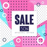 Sale banner, special offer up to 50 percent off, seasonal discount, advertising poster with geometric shapes vector. Illustration, web design Royalty Free Illustration