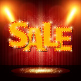 Sale banner on stage with spotlight effect background Stock Photography