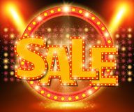 Sale banner on stage with spotlight effect background Stock Illustration
