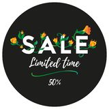 Sale banner or sticker. Limited time. Fifty percent off. Vector. Sale banner or sticker. Limited time. Fifty percent off Royalty Free Stock Photography