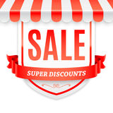 Sale Banner with Store Awning Royalty Free Stock Photos