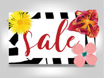 Sale banner with summer flowers, and zebra background vector illustration template. Flyer, invitation, posters, brochure Royalty Free Stock Photos