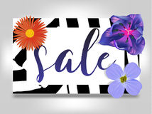 Sale banner with summer flowers, and zebra background vector illustration template. Flyer, invitation, posters, brochure Royalty Free Stock Photo