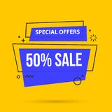50% sale banner template in colorful memphis style. On bright yellow background Stock Images