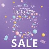 Sale  banner template, 3d figures realistic vector primitives composition stock illustration