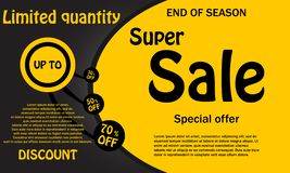 Sale banner template design, Big sale up to 30,50,70 percent,spe. Cial offer.End of season special offer banner.Discount card.Vector illustration royalty free illustration