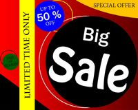 Sale banner template design, Big sale up to 50%,special offer.En. D of season special offer banner.Vector illustration royalty free illustration
