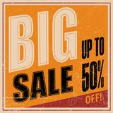 Sale banner template design, Big sale special offer. end of season special offer banner. vector illustration. Retro, vintage.  Royalty Free Stock Images