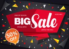 Sale banner template design black with red. Sale banner template design on a black background Stock Photo
