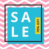 Sale banner template design with chevron pattern and square frame royalty free illustration